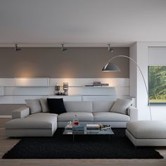 Black Area Rug And Contemporary Living Room Furniture Also Awesome Arc Floor Lamp Plus Track Lighting