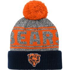 13e524dade2 Youth Chicago Bears Heathered Gray Navy Legacy Jaquard Cuffed Knit Hat With  Pom
