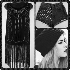 """Punk Chic Top Black fringe top w/ studs and crystal accents. From shoulder seam to top of fringe measures 22 1/2"""", and fringe length alone measures 11"""". Body of top: 75% Viscose & 25% Polyester  Fringe: 100% Polyester C. Oliver Tops Tunics"""