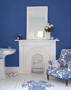 Brabourne Farm: My Blue (and White) Heaven. I love the white floor, but am nervous to try it. Blue And White, White Wall Paint, Blue House, Interior Design, Wall Colors, White Rooms, Interior, Blue Walls, Blue Wall Colors