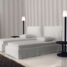 The high-quality Ghost Bed is a product by designer Paola Navone, created on commission for the Italian design furniture label Gervasoni. The Ghost Bed by Ghost Bed, Italian Furniture Design, Walnut Floors, Hotel Bed, White Bedding, Double Beds, Bed Furniture, Slipcovers, Floor Lamp