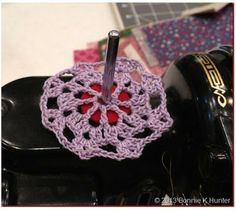 "Shelvy's Spool Pin Doily.  These would be nice ""riding to church"" projects -- wonder if I could find a source for selling??"