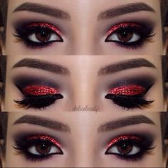 devil makeup for my minnie mouse look im going for Red Glitter Eye make up look Halloween Eye Makeup, Red Eye Makeup, Halloween Eyes, Glitter Eye Makeup, Goth Makeup, Smokey Eye Makeup, Red Smokey Eye, Devil Halloween, Red And Black Eye Makeup