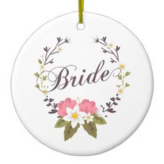 Simple & Elegant Bride Floral Wreath | Ornament - floral bridal shower gifts wedding bride party