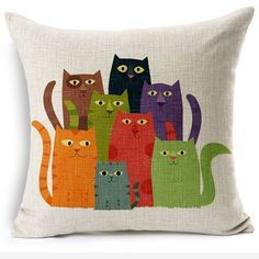 Nunubee Cotton Linen Cat Pillow Cover Home Decorative Throw Pillow Case Printed Cushion Cover Cat Cushion, Cushion Covers, Colourful Cushions, Cat Quilt, Cat Pillow, Pillow Talk, Sewing Pillows, Applique Cushions, Wash Pillows