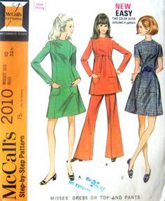 60s Dress, Bell Bottom Pants McCalls 2010 Vintage Sewing Pattern