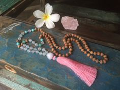 Rose Quartz & Amazonite Mala Beads  by BohemianTreasureSHOP