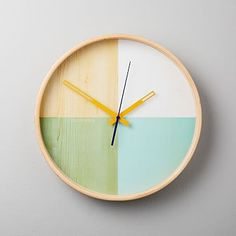 With its minimal, color-blocked dial, the Flor Clock doubles as stylish wall art and a modern way to stay on schedule. x Birchwood. Runs on one AA battery (not included). Mirror Wall Art, Frame Wall Decor, Home Wall Art, Frames On Wall, Modern Desk Accessories, Decorative Accessories, Metal Card Holder, Diy Clock, Clock Ideas