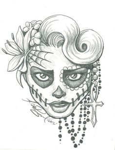 catrina day of the dead colouring pages