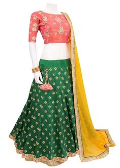 3107c5e2e80 Navratri Special Green Bride Banarasi Lehenga