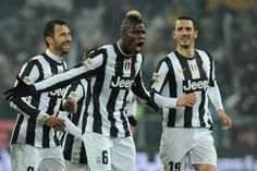 Paul Pogba (C) of Juventus celebrates after scoring the opening goal during the Serie A match between Juventus and Udinese Calcio at Juventus Arena on January 19, 2013 in Turin, Italy