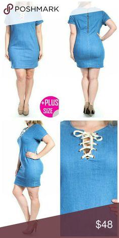 "Denim Dress Plus Runs Small  Fabric: 68% Cotton 30% Polyester 2% Spandex  1XL  Bust: 36""  Length: 35"" Hips: 40""   2XL  Bust: 38"" Length: 35"" Hips: 41""  3XL   Bust: 40: Length: 35"" Hips: 42"" Dresses"