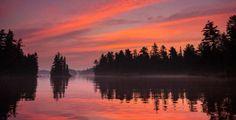 Lake Kipawa Qc, Canada (Taggart Bay) red sunset.