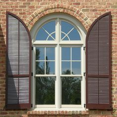 How to build exterior wood shutters look like? Outside Window Shutters, Window Shutters Exterior, Outdoor Shutters, Vinyl Shutters, House Shutters, Louvered Shutters, Green Shutters, Cafe Exterior, House Paint Exterior