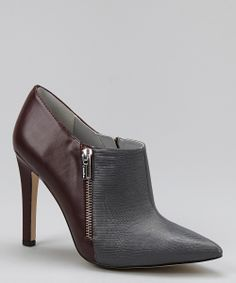Gray & Burgundy Leather Bessie Bootie