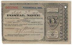 Pleasantville, IA 1889 Postal Note #003996 Issued for 1 cent