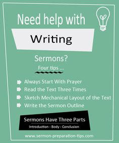 Sermon preparation tips provide helpful hints to guide you the process of writing sermons and sermon outlines - www.sermon-preparation-tips.com
