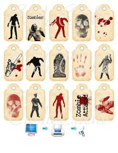 Halloween Tags 1 Zombies Digital Printable by by cachecache, $2.00