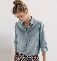Chemise+en+jean+léger+Femme