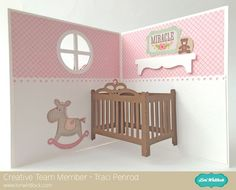 Lori Whitlock Pop-Up Baby Crib Card Tutorial with Traci Penrod.