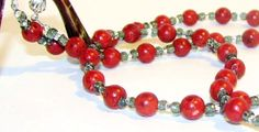 Multi Purpose Red Coral Beaded Eyeglass Chain Lanyard or ID Name Tag Badge Necklace by nonie615, $19.00