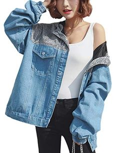 828f68d7d353d Innifer Women s Oversize Boyfriend Color Block Denim Jacket Jean Coat with  Hooded