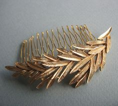 Golden Leaves Hair Comb by LoveHonorUpcycle on