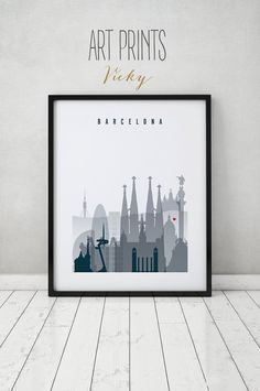 Barcelona art print, Poster, Travel, Cityscape, Wall art, Barcelona skyline, Spain, Wall Art, City prints, Home Decor, Gift, ArtPrintsVicky. IMPORTANT NOTE: ►Frame is not included. SIZES: ►Available sizes are shown in the button SIZE drop down menu above the ADD TO CART button. QUALITY AND DETAILS: ►Paper: EPSON Premium Glossy or Semigloss Photo Paper Best 5 stars in 251 or 255gr. ►Ink: Epson archival professional ink for colorful, vibrant prints that are water & fade-resistant ►Poster...