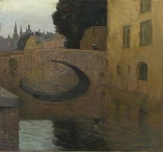 Canal in Bruges, 1907, Charles Warren Eaton. American Tonalist Painter (1857 - 1937)  - Pastel on Paper on Canvas -