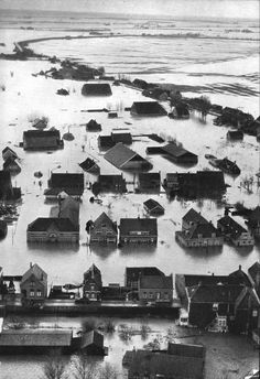 1953 food in the Netherlands- worst natural disaster to ever ht the Netherlands. Rotterdam, Utrecht, Holland, Kingdom Of The Netherlands, Canon, Floating In Water, Picture Credit, What A Wonderful World, Wonders Of The World
