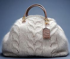 Ermanno Scervino. Winter 2008. Hand Knit Mohair Handbag. Leather handles, embellished with gold metal details and a mirror holder with logo. Three limited edition sizes of mini, medium and maxi. http://media.fashionblog.it/e/erm/ermanno-scervino/big_ermanno_scervino1.jpg
