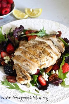 Grilled Chicken Salad with Berries and Honey Lemon Dressing | The Organic Kitchen Blog and Tutorials