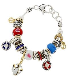 Nautical Charm Bracelet C56 Red White Blue Murano Glass Beads Gold Silver Tone Recyclebabe Bracelets http://www.amazon.com/dp/B01604P6Q2/ref=cm_sw_r_pi_dp_6ncdwb0JH43NA