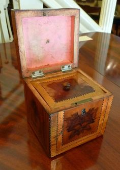 Inside view of late 18th century George III period Cube Tea Caddy from Quiet Street Antiques