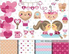Valentinstag Clipart Clipart Liebe von TheHappyGraphics auf Etsy