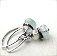Aquamarine and Mystic Rock Crystal Gemstone Earrings by PoppyLayne, $24.00