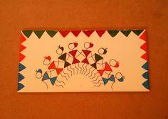 Tile Paintings - Warli Art on Tiles Worli Painting, Fabric Painting, Saree Painting, Indian Artwork, Indian Folk Art, Madhubani Art, Madhubani Painting, Envelope Art, Gift Envelope