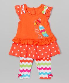Look what I found on #zulily! Orange Parrot Tunic & Leggings - Infant, Toddler & Girls #zulilyfinds