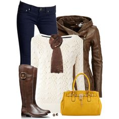 Yellow Bag, Brown Leather Coat & Boots