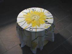Seide Silk Tischdecke  bemalte Seide Ursula Pauly tablecloth solkpainting