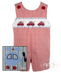 Zuccini Boys Reversible Shortall - Red Gingham Smocked Cars / Blue Striped Helicopter $70