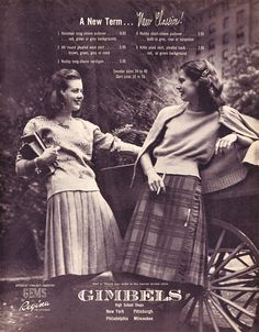 Cozy work or school outfits from Gimbels, 1940s. that still can be worn today.