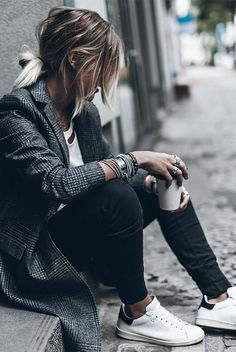 fall outfit, winter outfit, casual outfit, comfy outfit, weekend outfit, Sunday outfit, athleisure outfit, sneakers outfit, fall trends 2016 - grey coat, grey blazer, white t-shirt, black joggers, white sneakers