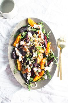 Recipe for Balsamic Roasted Beets, Sweet Orange, and Chévre Salad with Pumpkin Seeds | Flourishing Foodie