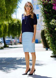 紺のカットソーとブルースカートの夏コーデ☆40代コーデ♪スタイル・ファッションの参考に☆
