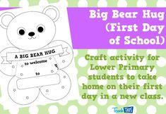 Big Bear Hug - First Day of School - Editable