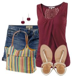 striped bag and burgundy top