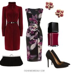 FBD What to Wear: For our grown and sexy readers, we have an Orchid Print Dress by Phase Eight. Sure, winter can be dark, but you can incorporate fun pops of color with this wine colored coat and Robert Rose Multi-Shape Cluster Earrings. Complete with black pumps and a black velvet clutch.