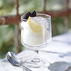 Limoncello, the citrusy Italian liqueur, brightens this sorbet. It's nice to have a bottle on hand to splash with soda in a spritzer or macerate with fruit for a quick dessert.