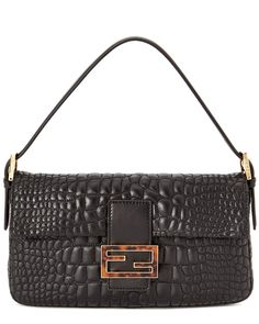 fac8e7e0bb46 FENDI Quilted Croc Leather Shoulder Bag in Black Fab Bag